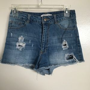 Tilly's distressed high waisted denim jean shorts
